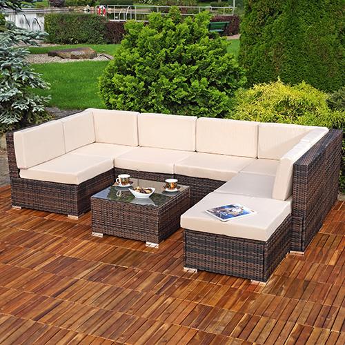 xxl rattanm bel gartenset polyrattan lounge gartenm bel sitzgruppe schwarz braun ebay. Black Bedroom Furniture Sets. Home Design Ideas