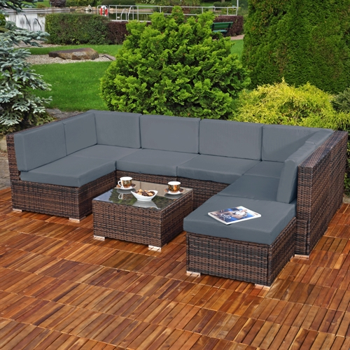 lounge gartenm bel set sitzgruppe garten sofa auflagen polyrattan grau ebay. Black Bedroom Furniture Sets. Home Design Ideas