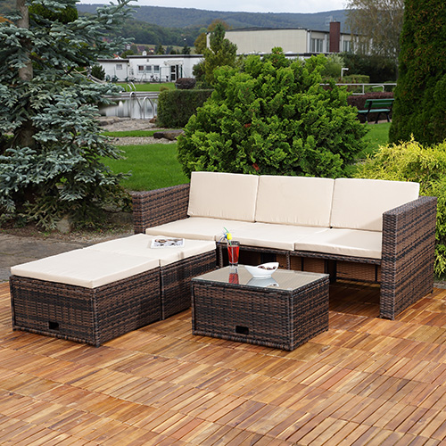 polyrattan sitzm bel braun sitzgruppe sofa lounge gartenset rattanm bel neu ebay. Black Bedroom Furniture Sets. Home Design Ideas