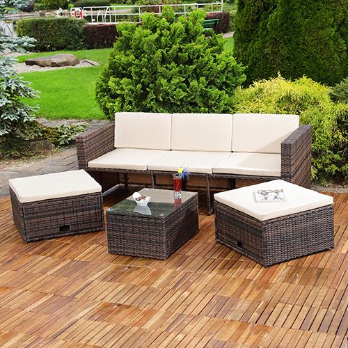 Polyrattan Sitzmöbel Schwarz Sitzgruppe Sofa Lounge ...