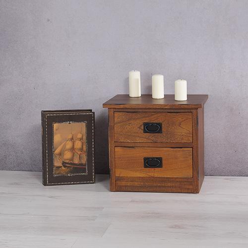 Kommode Anrichte braun mit 3 Schubladen + Schriftzug weiß  -> Vintage Kommode Schubladen