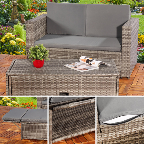 rattan liege wohnzimmer:Rattan Lounge Grau Relaxsessel Sitzgruppe Lounge Sofa Liege