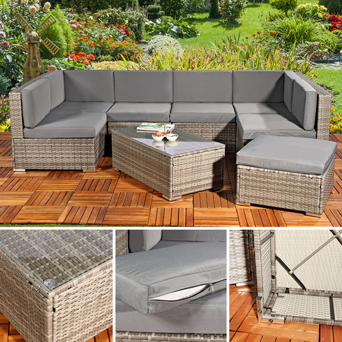 Rattanmöbel balkon grau  Grau Polyrattan Garnituren & Sitzgruppen | eBay