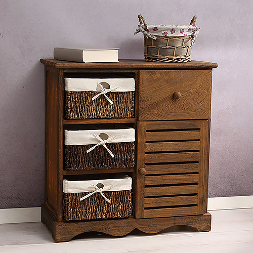 schrank kommode vintage braun mit k rben schublade regal. Black Bedroom Furniture Sets. Home Design Ideas