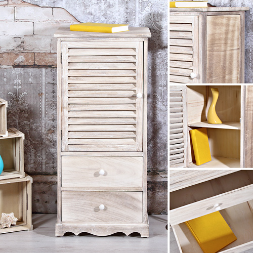 kommode 2 schubladen und lamellent r im used look. Black Bedroom Furniture Sets. Home Design Ideas