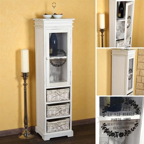 vitrine midischrank standschrank schrank wei schubladenschrank regal glas wein ebay. Black Bedroom Furniture Sets. Home Design Ideas
