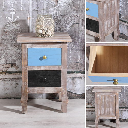 landhaus nachtschrank used look holz inkl 2 schubf cher. Black Bedroom Furniture Sets. Home Design Ideas