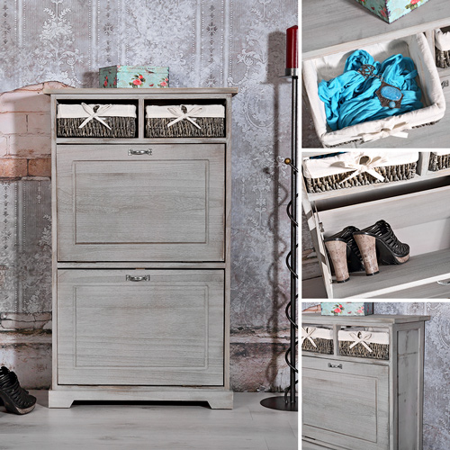 schuhschrank im shabby chic schuhablage schuhregal dielen flur kommode grau. Black Bedroom Furniture Sets. Home Design Ideas