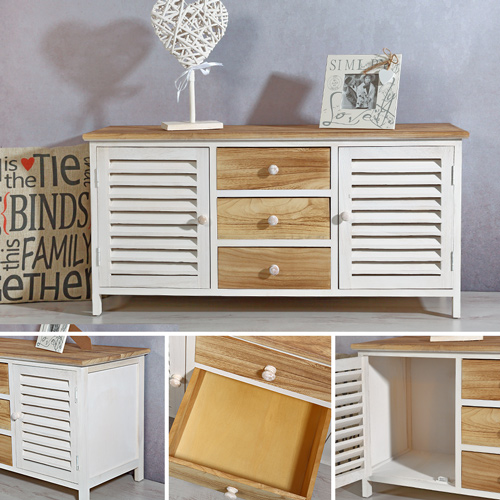lowboard mit lamellent ren shabby chic flurschrank kommode schrank regal holz. Black Bedroom Furniture Sets. Home Design Ideas