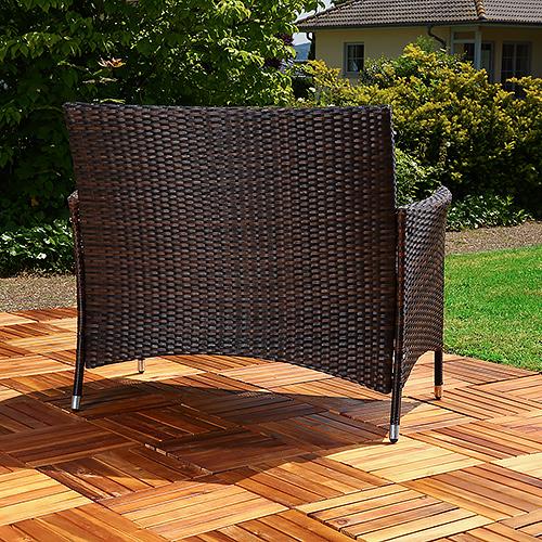 rattan gartenbank schwarz braun mit auflage sitzbank. Black Bedroom Furniture Sets. Home Design Ideas