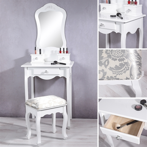 hocker in weis aus holz fur schminktisch. Black Bedroom Furniture Sets. Home Design Ideas