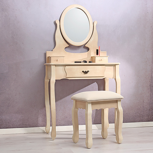 schminktisch inkl. hocker und spiegel frisierkommode in weiß,