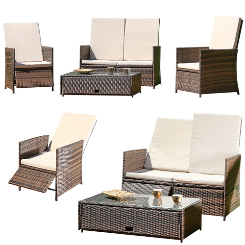 essgruppe mit 2 sessel couch und tisch kissen garten liege lounge set rattan ebay. Black Bedroom Furniture Sets. Home Design Ideas