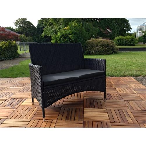 rattan gartenbank schwarz mit auflage sitzbank polyrattan sitzkissen schwarz ebay. Black Bedroom Furniture Sets. Home Design Ideas