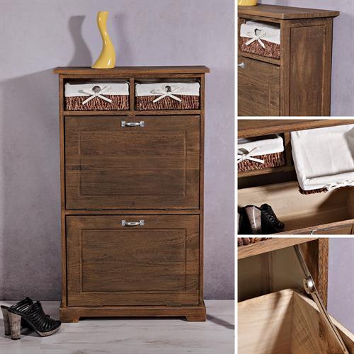 schuhregal schuhablage 2 klappt ren im used look kommode. Black Bedroom Furniture Sets. Home Design Ideas