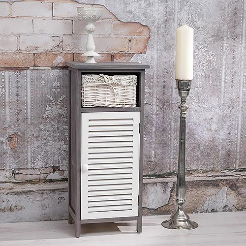 hochschrank kommode standregal bad flur 3 k rbe t r mit lamellen holz braun we ebay. Black Bedroom Furniture Sets. Home Design Ideas