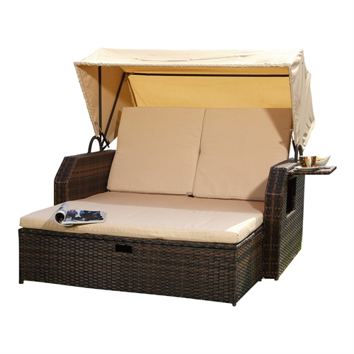 mucola polyrattan bett sonnendach rattan sofa gartenliege loungeliege sonnen ebay. Black Bedroom Furniture Sets. Home Design Ideas