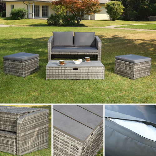 poly rattan gartenset grau rattanm bel lounge sitzgruppe garten essgeruppe ebay. Black Bedroom Furniture Sets. Home Design Ideas