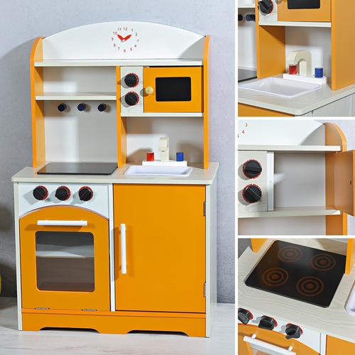 kinderk che holz spielk che kinder spielzeug zubeh r m dchen k che orange ebay. Black Bedroom Furniture Sets. Home Design Ideas