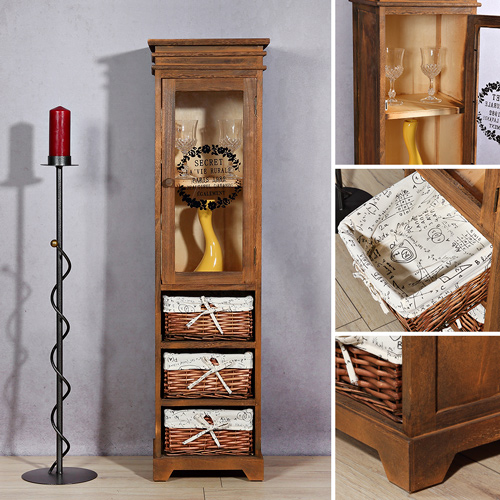 vitrine midischrank standschrank schrank braun. Black Bedroom Furniture Sets. Home Design Ideas