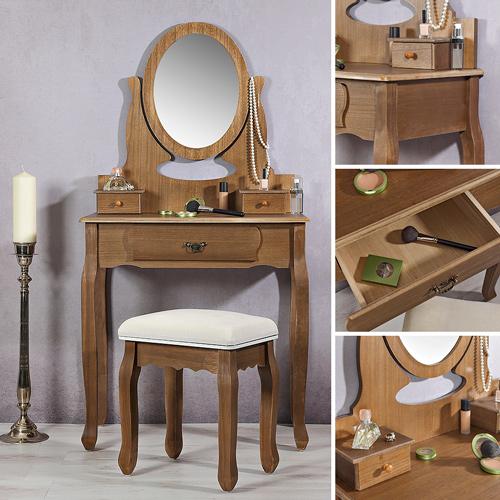 shabby kosmetiktisch spiegel polsterhocker braun. Black Bedroom Furniture Sets. Home Design Ideas