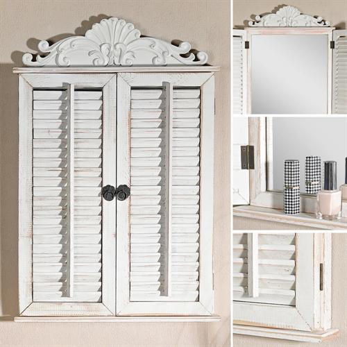 63 cm holz wandspiegel nostalgie mit fensterladen shabby wei spiegelfenster ebay. Black Bedroom Furniture Sets. Home Design Ideas
