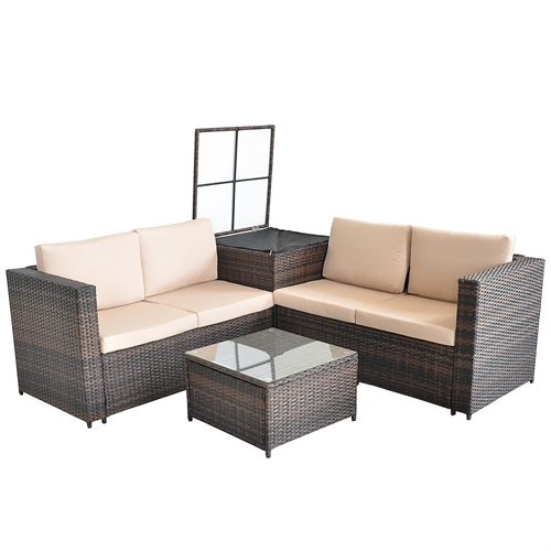 polyrattan sitzgruppe lounge sessel sofa sitzgarnitur gartenset braun kissenbox ebay. Black Bedroom Furniture Sets. Home Design Ideas
