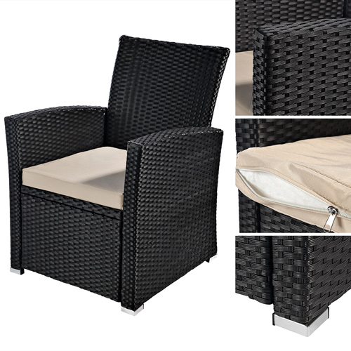 garten sessel stuhl polyrattan gartenm bel balkon sitzm bel rattansessel schwarz ebay. Black Bedroom Furniture Sets. Home Design Ideas