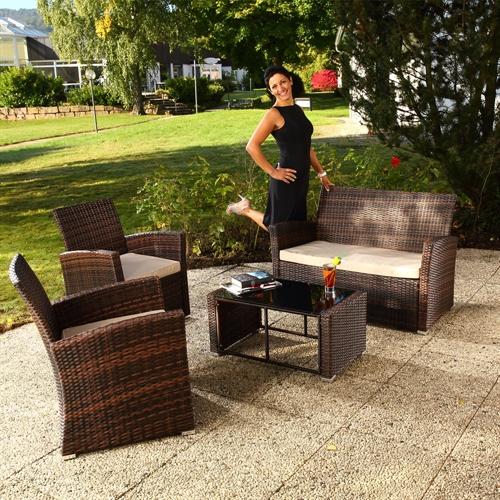 Gartenmobel Aus Europaletten Bauen Anleitung :  Set Sitzgruppe Garten Sofa + Auflagen PolyRattan braun  eBay