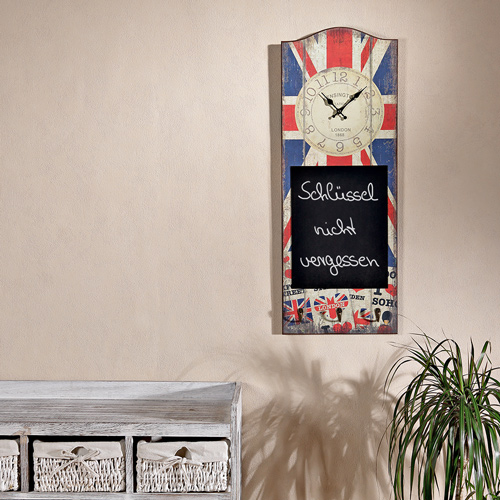 k chenuhr mit england flagge schreibtafel 3 haken im shabby chic 30x80 holz ebay. Black Bedroom Furniture Sets. Home Design Ideas
