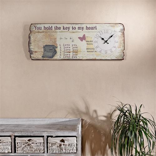 80x30cm wandbild love uhr im shabby chic aus holz dekouhr. Black Bedroom Furniture Sets. Home Design Ideas