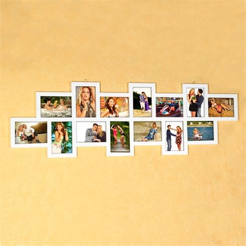 14-Fotos-Bilderrahmen-Fotorahmen-Bildergalerie-Rahmen-Holz-Collage-Weiss-10x15