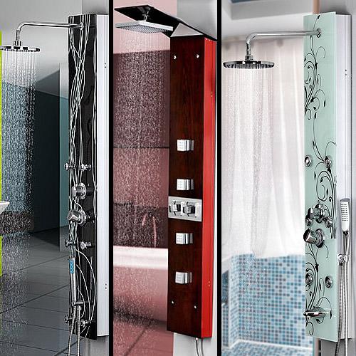 glas duschpaneel holz optik 4 massaged sen inkl regendusche duschs ule bad ebay. Black Bedroom Furniture Sets. Home Design Ideas