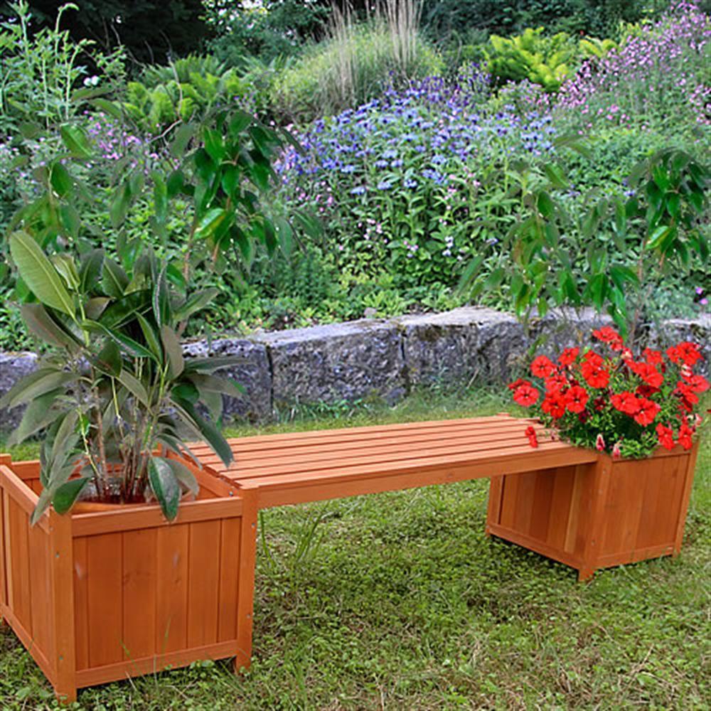 Panca con 2 fioriere legno impregnato da giardino balcone - Porta fioriere da balcone ...