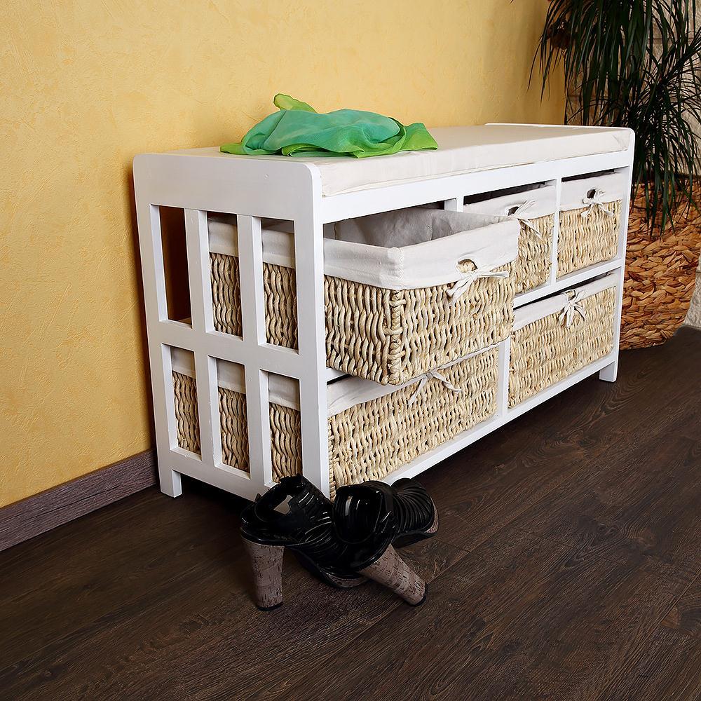 Panca cassapanca portaoggetti in legno con cassetti ceste for Cassapanca vimini