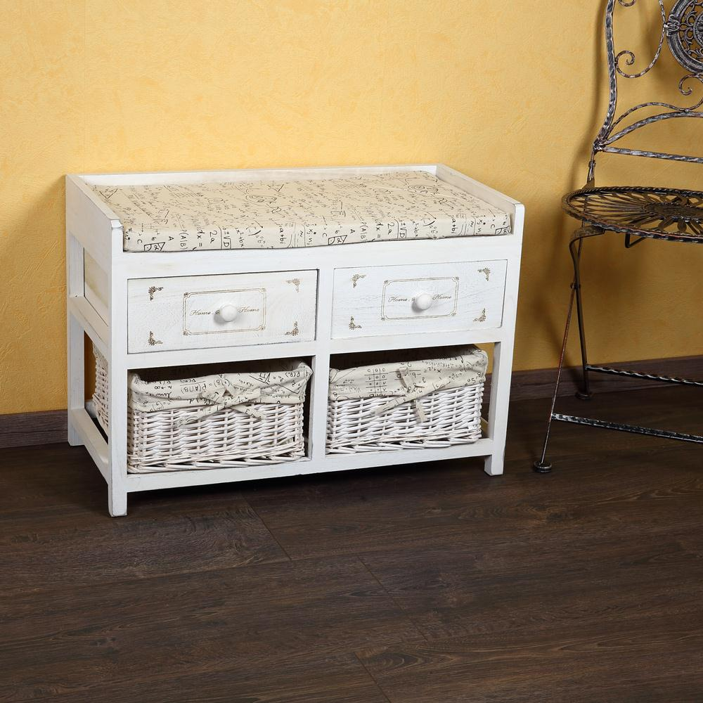 Shabby Chic Truhe Polster Sitzbank aus Holz in Wei