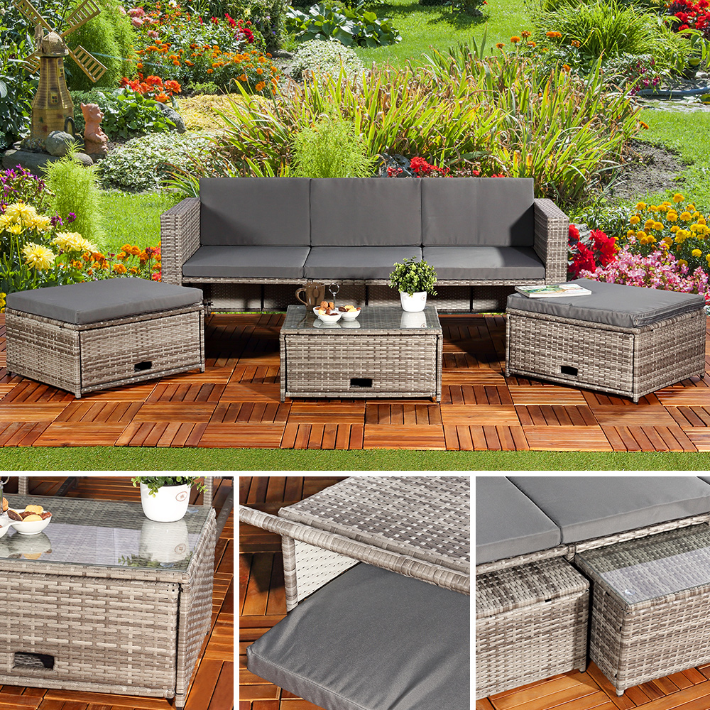 Polyrattan Garnitur Lounge Set Sitzmöbel Grau