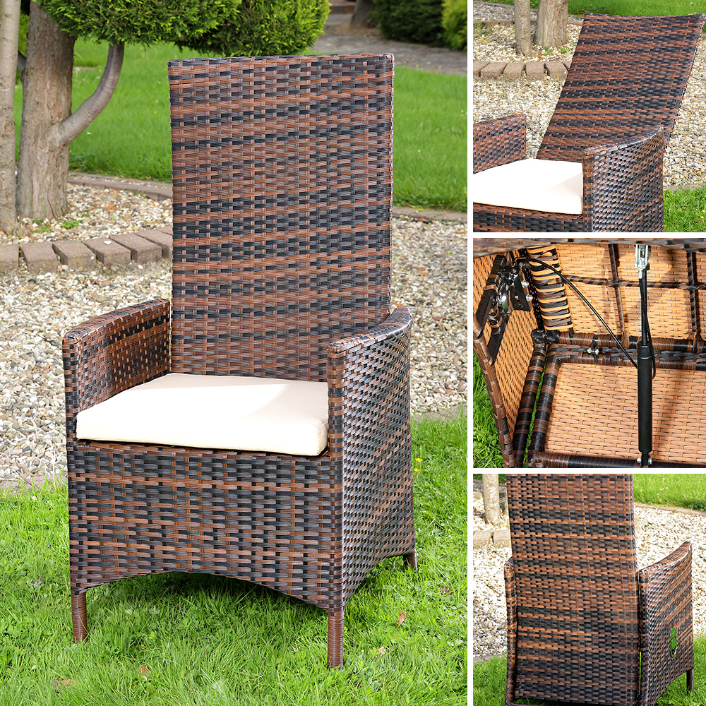 Lounge sessel polyrattan braun  Verstellbarer Polyrattan Sessel inkl. Kissen Braun