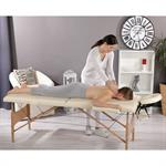 2 Zone Mobile Massage Table incl. Case Folding Massage Couch Bench Cream Pic:1