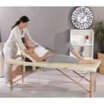 3 Zones Portable Massage Table Beauty Couch Bed Beige/Cream incl. Bag Pic:1