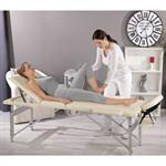 Aluminium 3 zones Mobile Portable Massage Table Couch Sofa ONLY 12.5 KG Cream Pic:1