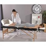 2 Zones Portable Massage Table Beauty Couch Bed+Bag Set White/Black Pic:1