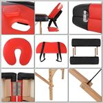 2 Zones Portable Massage Table Beauty Couch Bed Incl. Bag Folding Red/Black Pic:2