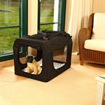 Foldable Dog/Puppy Animal Pet Carrier Transport Box Basket Cushion Black Size M
