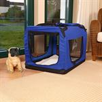 Foldable Dog/Puppy Animal Pet Carrier Transport Box Basket + Cushion Blue