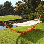 Hammock XXL 400x120cm Wooden Sun Lounger Sunlounger Bed Stand
