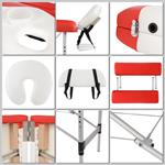 Aluminium 2 Zones Massage Table Bed Counch Alu Bank White/Red only 12.5 KG Pic:2