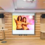 Motorised Home Cinema Projector Screen HDTV Wall Projection + Remote 203X203CM