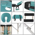 Aluminium 3 zones Mobile Portable Massage Table Couch Sofa Black/Turquoise + Bag Pic:2