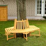 Round Circular Wooden Tree Bench Outdoor Garden Furniture Circle Seat